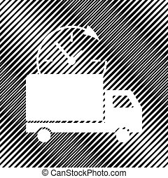 Delivery sign illustration. Vector. Icon. Hole in moire backgrou