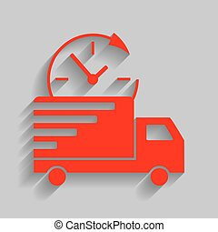 Delivery sign illustration. Vector. Red icon with soft shadow on gray background.
