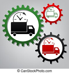 Delivery sign illustration. Vector. Three connected gears with i