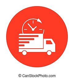 Delivery sign illustration. White icon on red circle.
