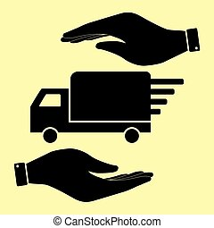 Save or protect symbol by hands. - Delivery sign. Save or...