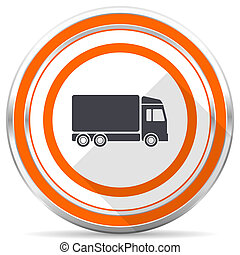 Delivery silver metallic chrome round web icon on white background with shadow