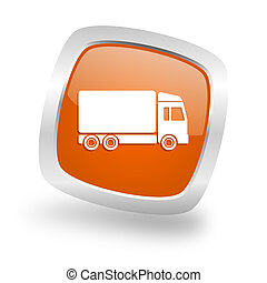 delivery square orange glossy chrome silver metallic web icon