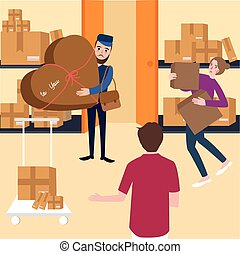 delivery team and manager working with box in shelf warehouse shipping storage