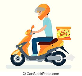 Delivery, the guy on the moped is carrying pizza. Cartoon Characters.