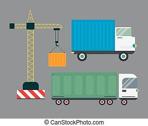 Delivery transport cargo truck illustration.
