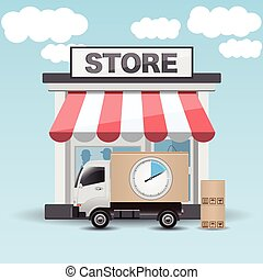 Delivery transport truck with clock