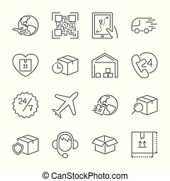 Delivery, transportation, logistics, shipping vector thin line icons set. Modern line graphic design for website, web design, mobile app, infographic. Pixel perfect vector outline icons set.