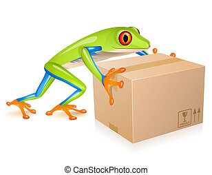 Little tree frog delivering a cardboard