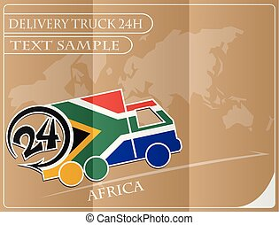 Delivery truck 24h concept made from the flag of Africa, conceptual vector illustration