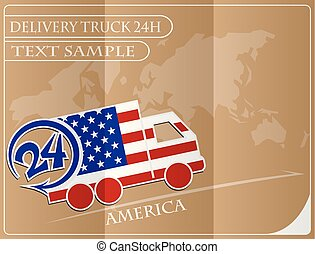 Delivery truck 24h concept made from the flag of America, conceptual vector illustration