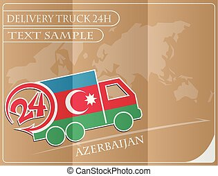 Delivery truck 24h concept made from the flag of Azerbaijan, conceptual vector illustration