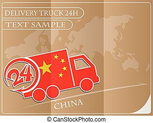 Delivery truck 24h concept made from the flag of China, conceptual vector illustration