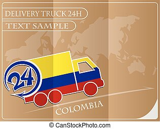 Delivery truck 24h concept made from the flag of colombia, conceptual vector illustration