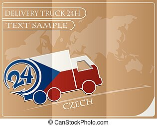 Delivery truck 24h concept made from the flag of Czech, conceptual vector illustration