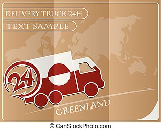Delivery truck 24h concept made from the flag of Greenland, conceptual vector illustration