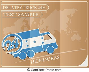 Delivery truck 24h concept made from the flag of Honduras, conceptual vector illustration