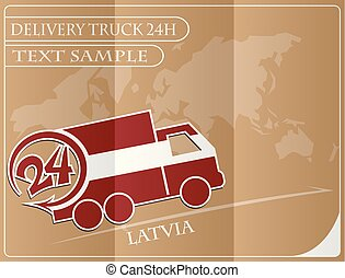 Delivery truck 24h concept made from the flag of Latvia, conceptual vector illustration