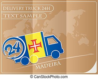 Delivery truck 24h concept made from the flag of Madeira, conceptual vector illustration