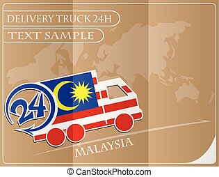 Delivery truck 24h concept made from the flag of Malaysia, conceptual vector illustration