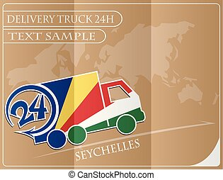 Delivery truck 24h concept made from the flag of Seychelles, conceptual vector illustration