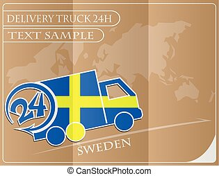 Delivery truck 24h concept made from the flag of Sweden, conceptual vector illustration