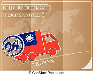 Delivery truck 24h concept made from the flag of Taiwan, conceptual vector illustration