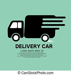 Delivery Truck Black Icon Symbol Vector Illustration.