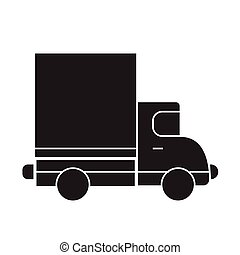 Delivery truck black vector concept icon. Delivery truck flat illustration, sign