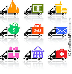 Delivery truck colored icons, vector illustration