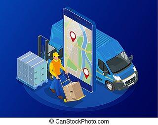 delivery-truck, exprès, isométrique, expédition, service, boîte, vérification, app, gratuite, livraison, livraison rapide, arrière-plan., vecteur, téléphone., illustration, mobile, ligne, carton, concept., téléphone