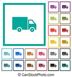 Delivery truck flat color icons with quadrant frames