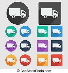 Delivery truck, flat icons.
