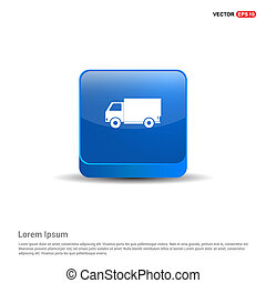Delivery truck icon - 3d Blue Button