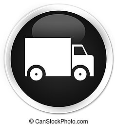 Delivery truck icon black glossy round button