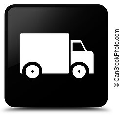 Delivery truck icon black square button