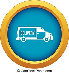 Delivery truck icon blue vector isolated