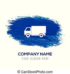 Delivery truck icon - Blue watercolor background