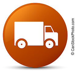 Delivery truck icon brown round button
