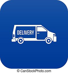 Delivery truck icon digital blue