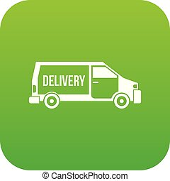 Delivery truck icon digital green