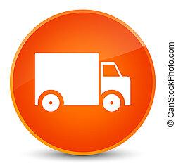 Delivery truck icon elegant orange round button