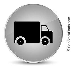 Delivery truck icon elegant white round button