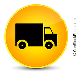 Delivery truck icon elegant yellow round button