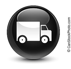 Delivery truck icon glassy black round button
