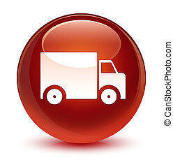 Delivery truck icon glassy brown round button