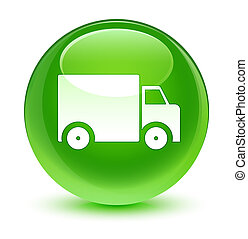 Delivery truck icon glassy green round button