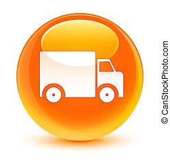 Delivery truck icon glassy orange round button