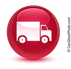 Delivery truck icon glassy pink round button