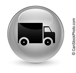 Delivery truck icon glassy white round button
